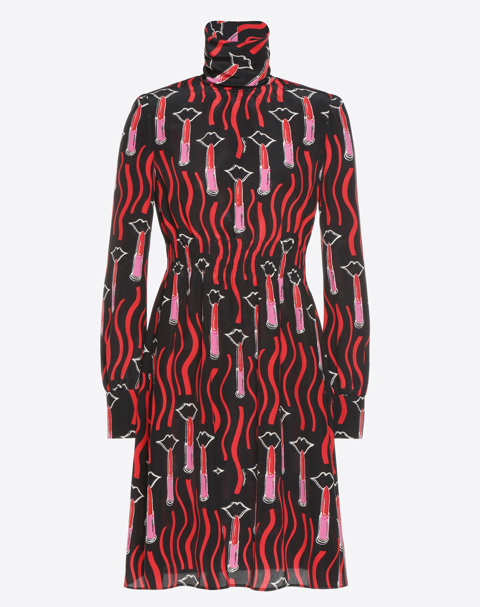 VALENTINO Lipstick Waves print dress Dress D f