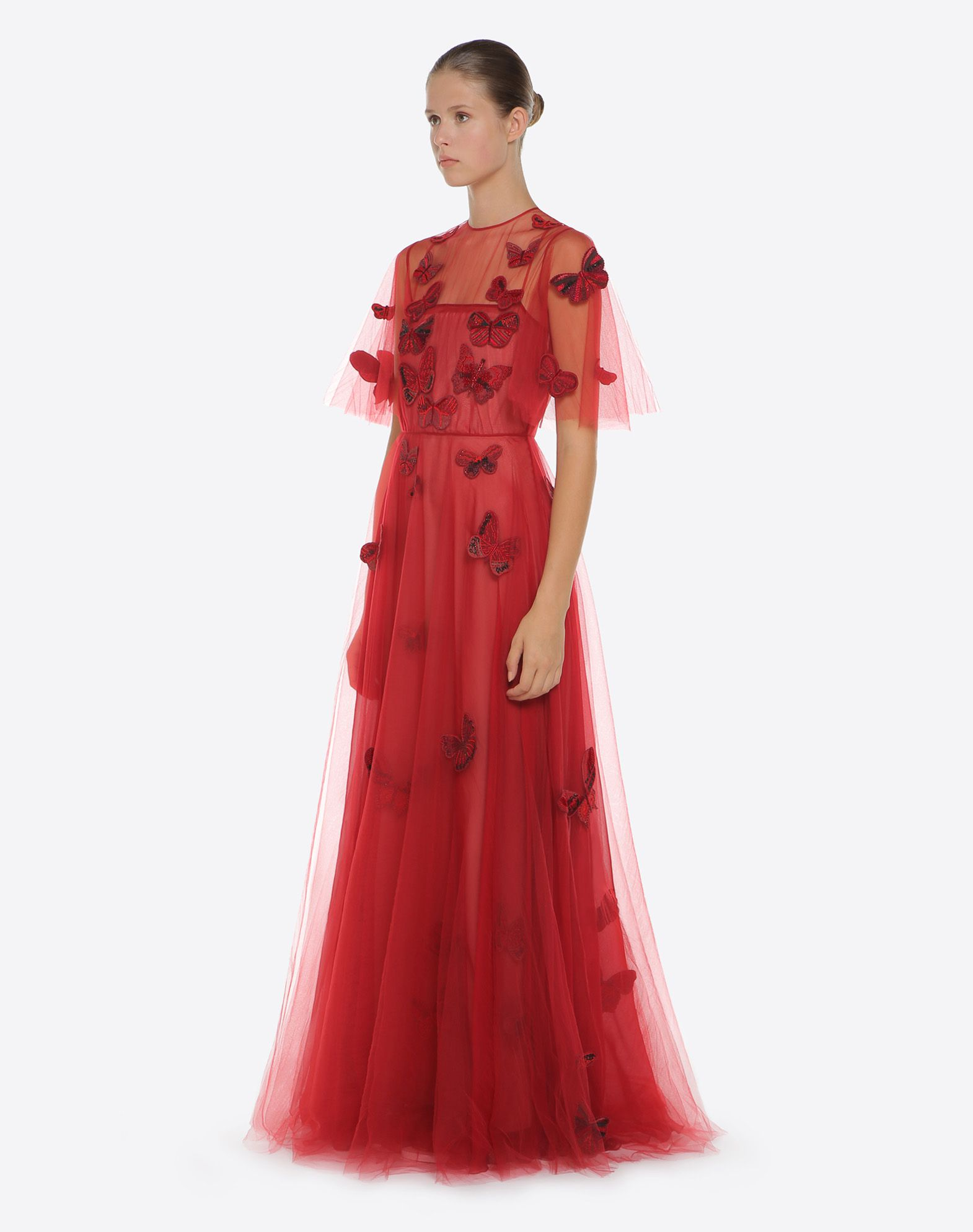 VALENTINO Embroidered tulle evening dress Gown D d