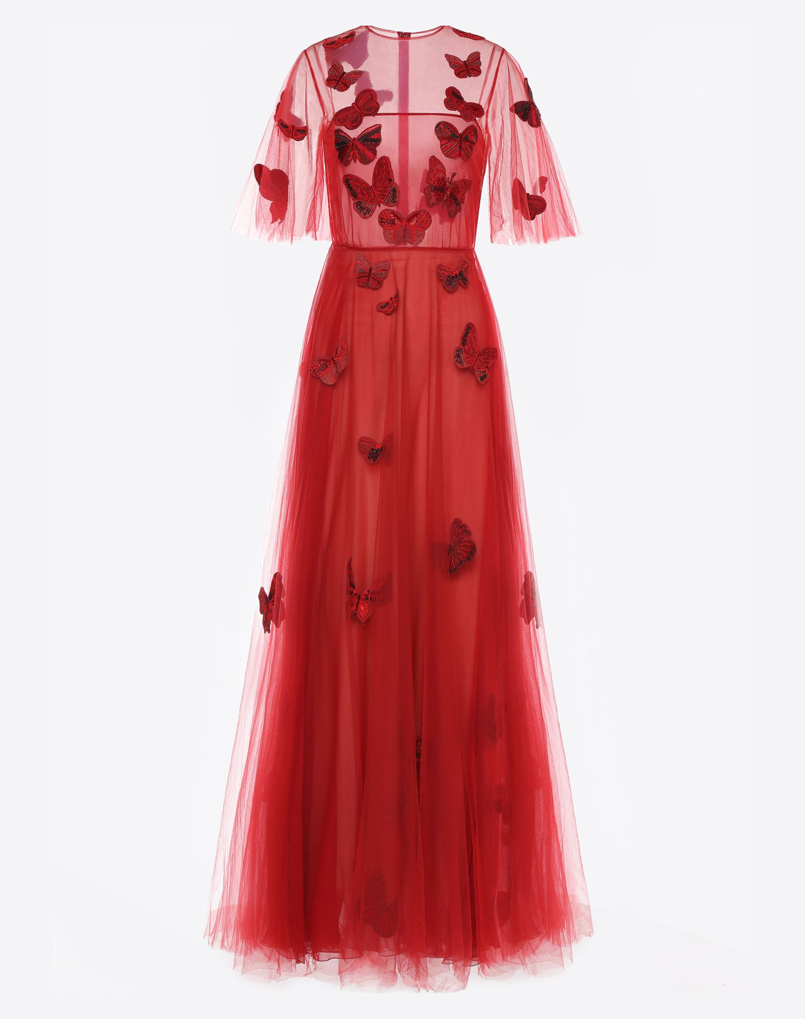 VALENTINO Embroidered tulle evening dress Gown D f