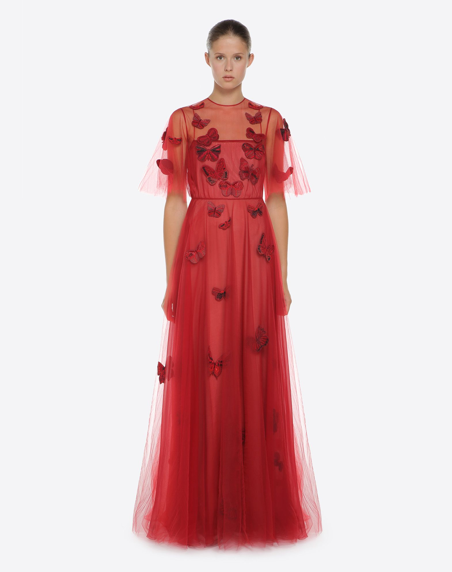 VALENTINO Embroidered tulle evening dress Gown D r