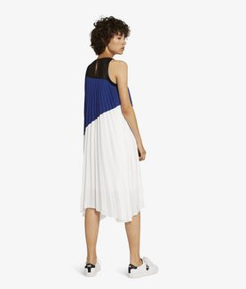KARL LAGERFELD COLOR BLOCK PLEATED DRESS