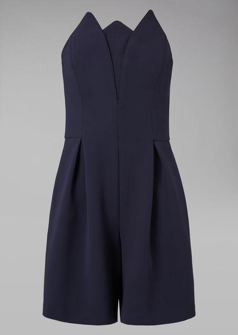Silk suit with tulip neckline