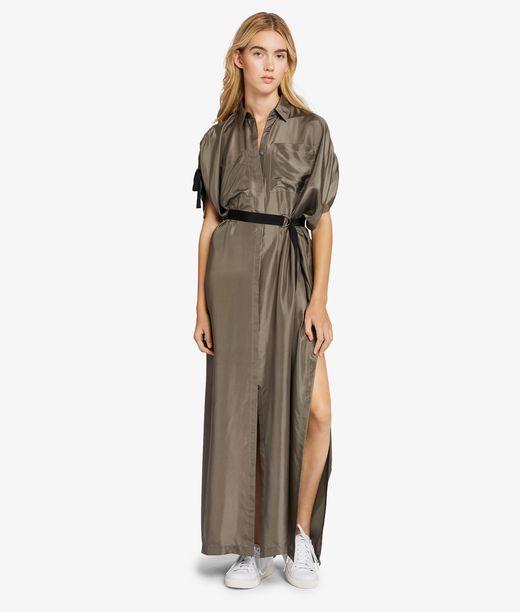 KARL LAGERFELD Silk Maxi Shirt Dress 12_f