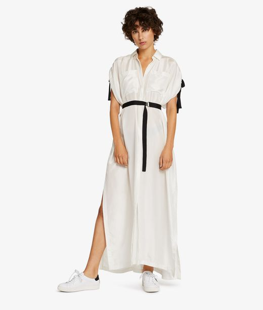 KARL LAGERFELD Silk Maxi Shirt Dress 12_f