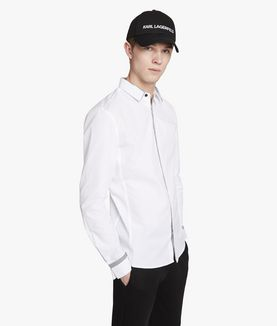 KARL LAGERFELD POPLIN SHIRT WITH STRIPE DETAIL