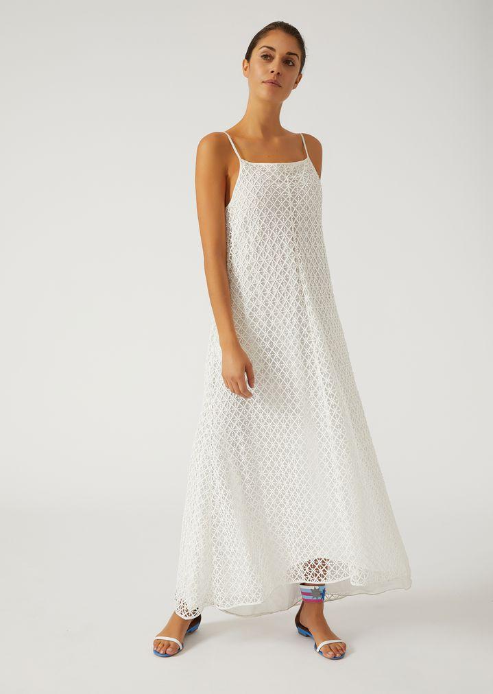 Geometric Macramé Dress with Straps   Woman   Emporio Armani