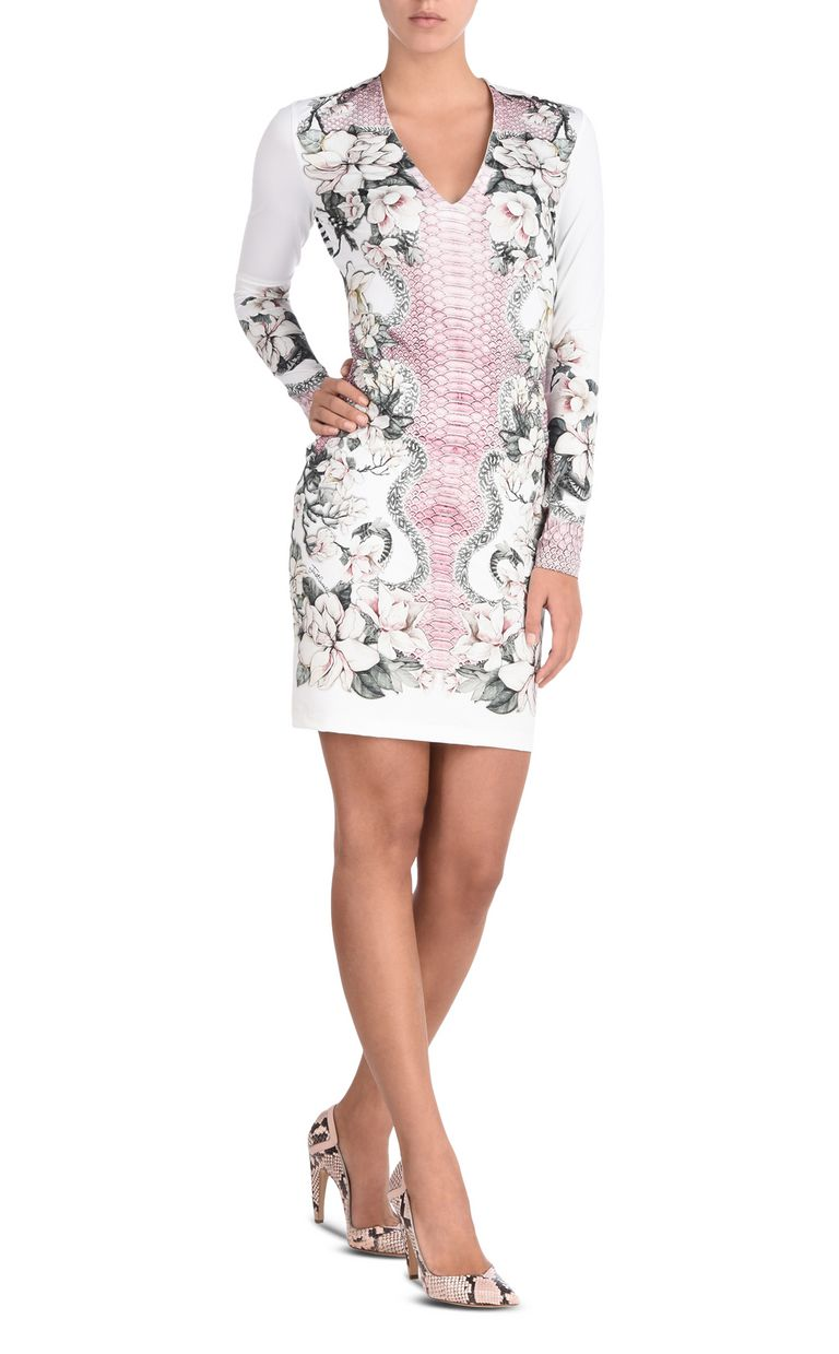 JUST CAVALLI Shift dress in Magnolia of my Heart print Short dress Woman r
