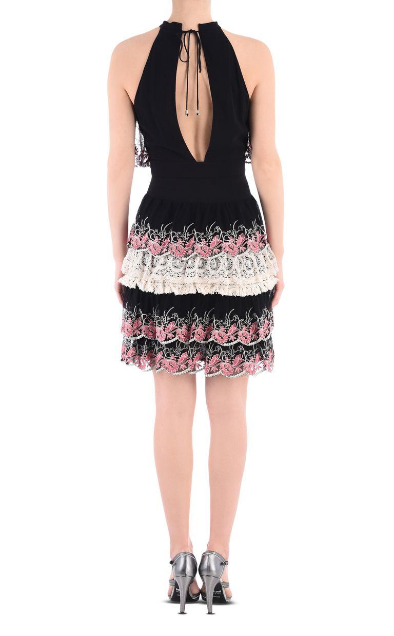 JUST CAVALLI Short dress with Macramé lace ruffles Dress [*** pickupInStoreShipping_info ***] d