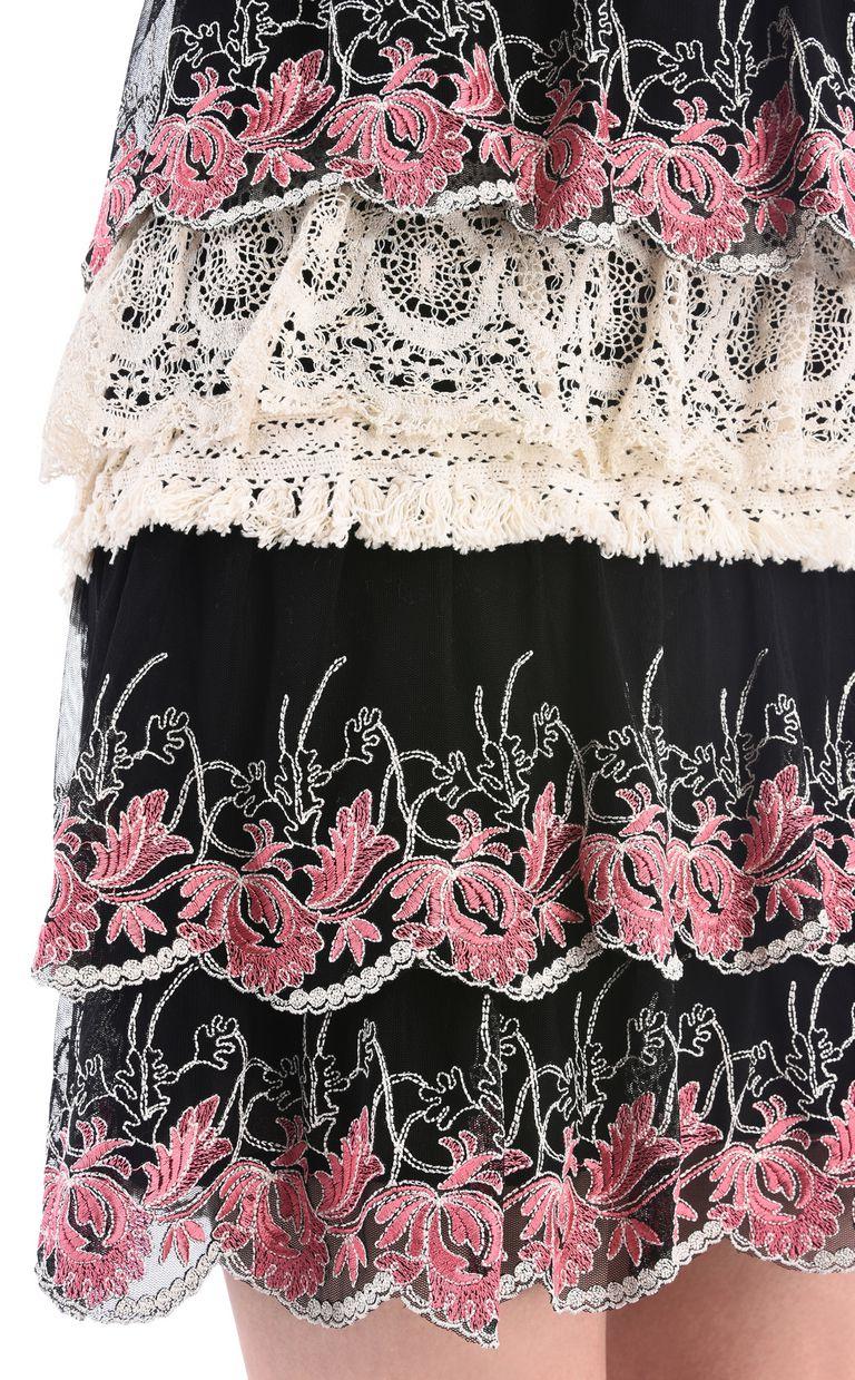 JUST CAVALLI Short dress with Macramé lace ruffles Dress [*** pickupInStoreShipping_info ***] e