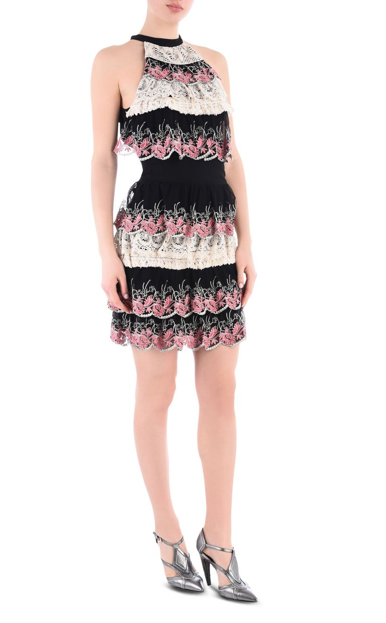 JUST CAVALLI Short dress with Macramé lace ruffles Dress Woman f