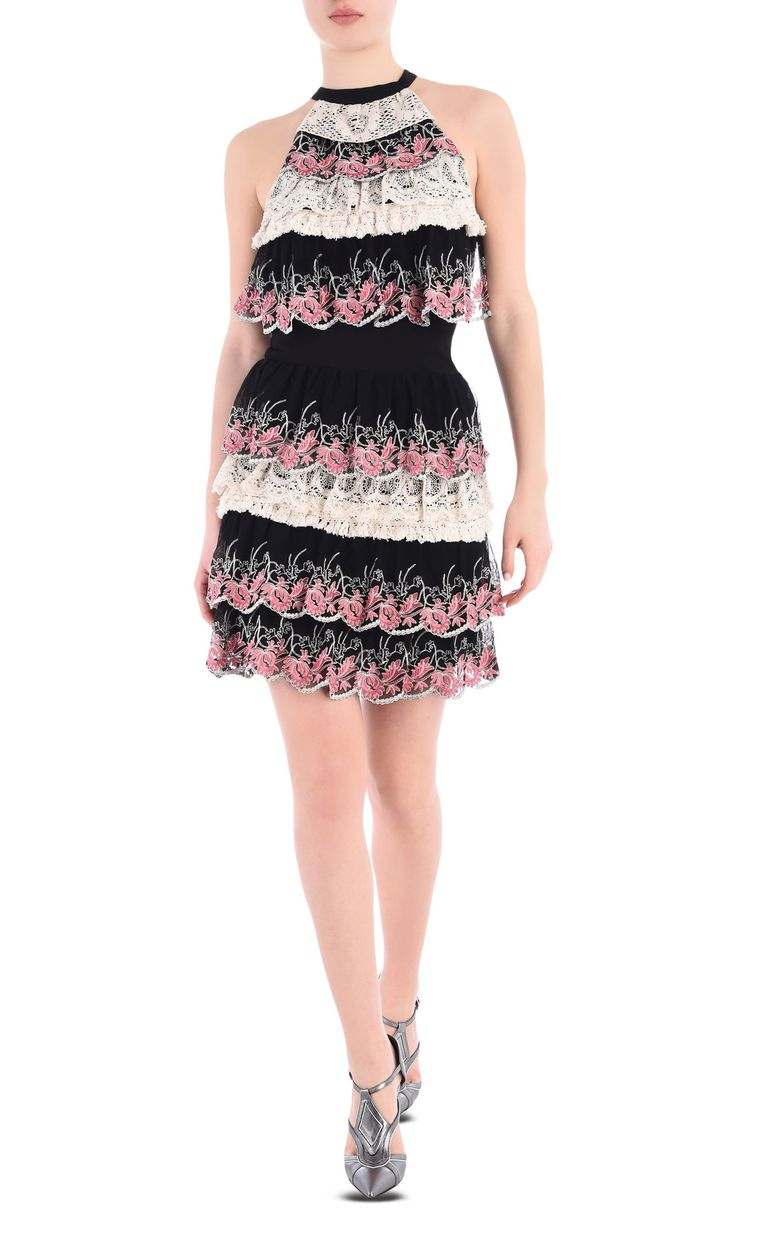JUST CAVALLI Short dress with Macramé lace ruffles Dress [*** pickupInStoreShipping_info ***] r