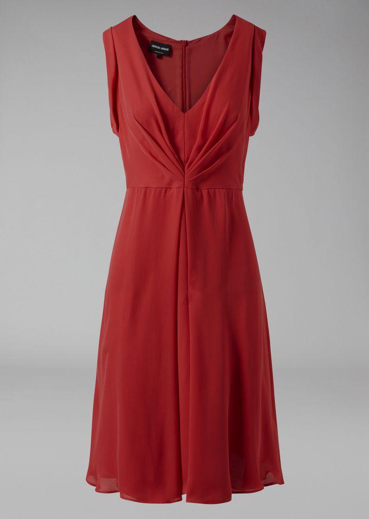 GIORGIO ARMANI Silk dress with gathered detailing Dress Woman r