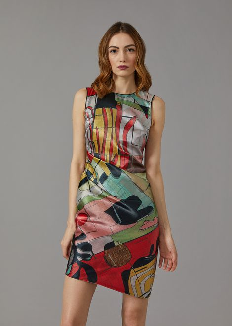 Satin dress with abstract pattern
