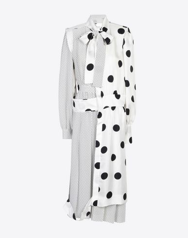 MAISON MARGIELA 3/4 length dress Woman Cut-out silk double dress with contrasting polka dot layers and a bow collar. This piece measures 121cm in length and hits just below the calf. The Maison's iconic 4 stitches are exposed in the back. f
