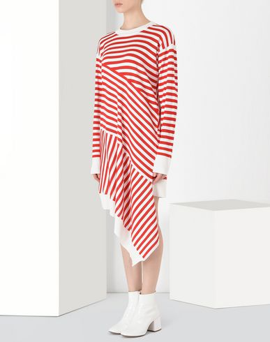 MM6 MAISON MARGIELA Short dress Woman Asymmetric stripe knit dress f