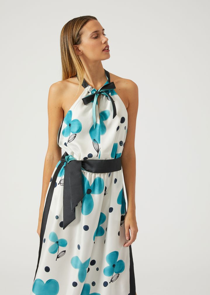 EMPORIO ARMANI Silk floral maxi dress Dress Woman e