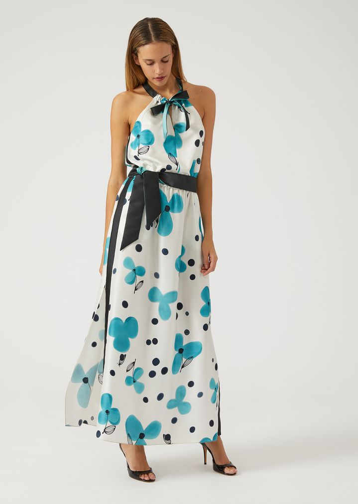 EMPORIO ARMANI Silk floral maxi dress Dress Woman f