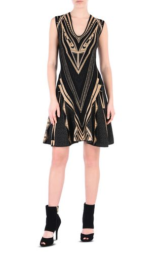 JUST CAVALLI 3/4 length dress [*** pickupInStoreShipping_info ***] Black and gold sheath dress f