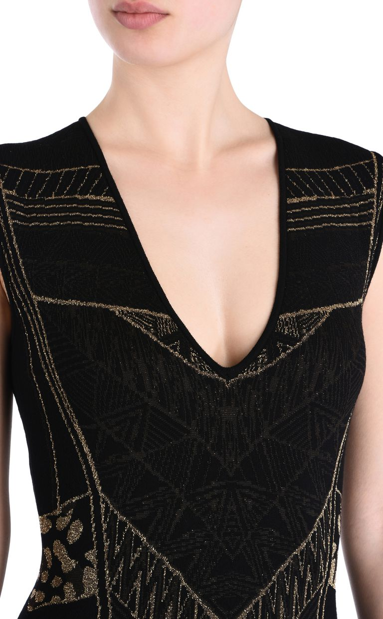 JUST CAVALLI Black and gold sheath dress 3/4 length dress [*** pickupInStoreShipping_info ***] e