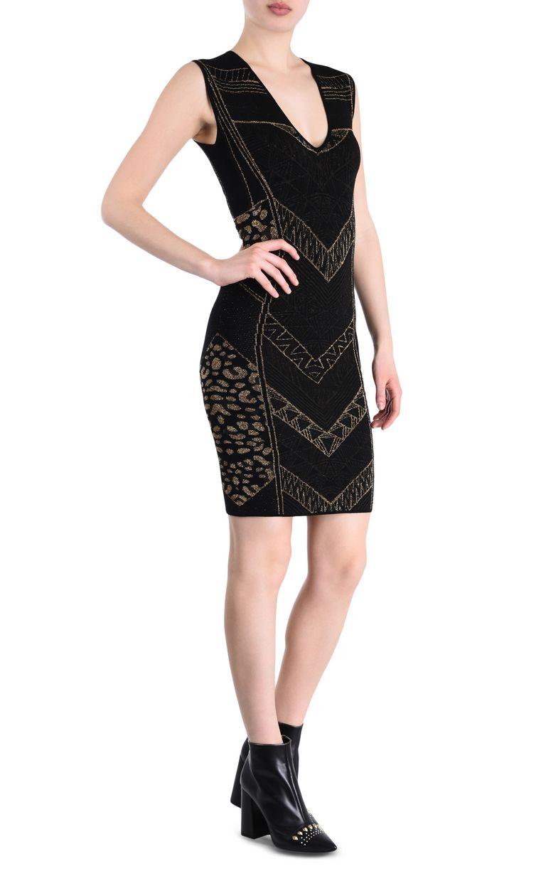 JUST CAVALLI Black and gold sheath dress 3/4 length dress Woman f