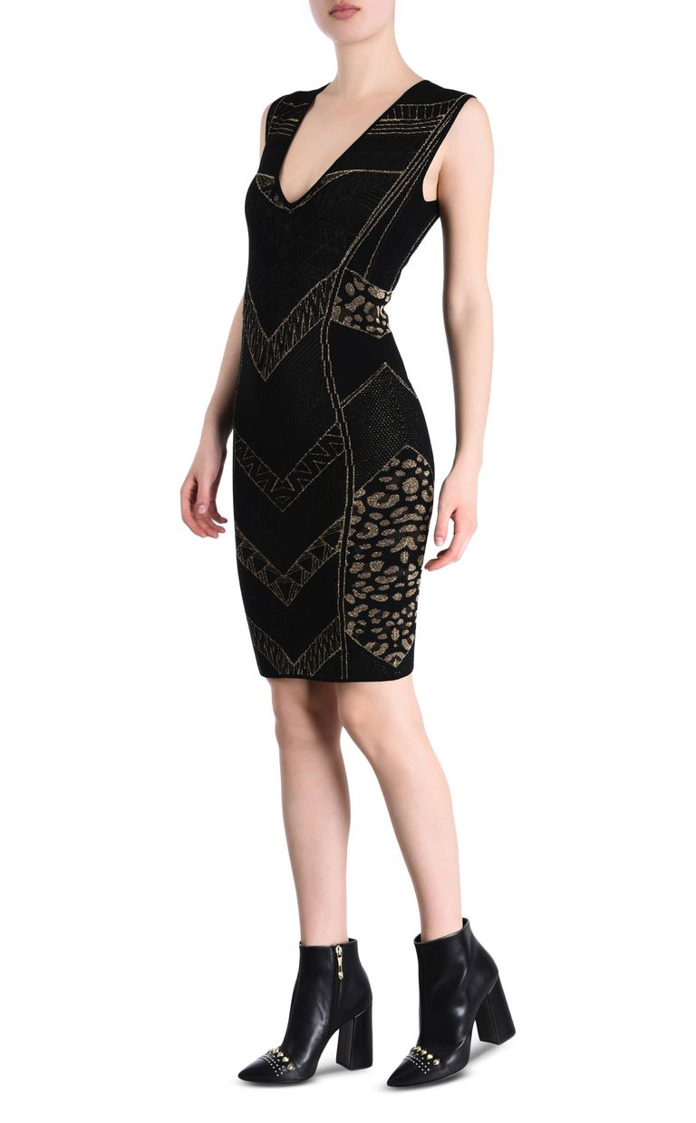 JUST CAVALLI Black and gold sheath dress 3/4 length dress [*** pickupInStoreShipping_info ***] r