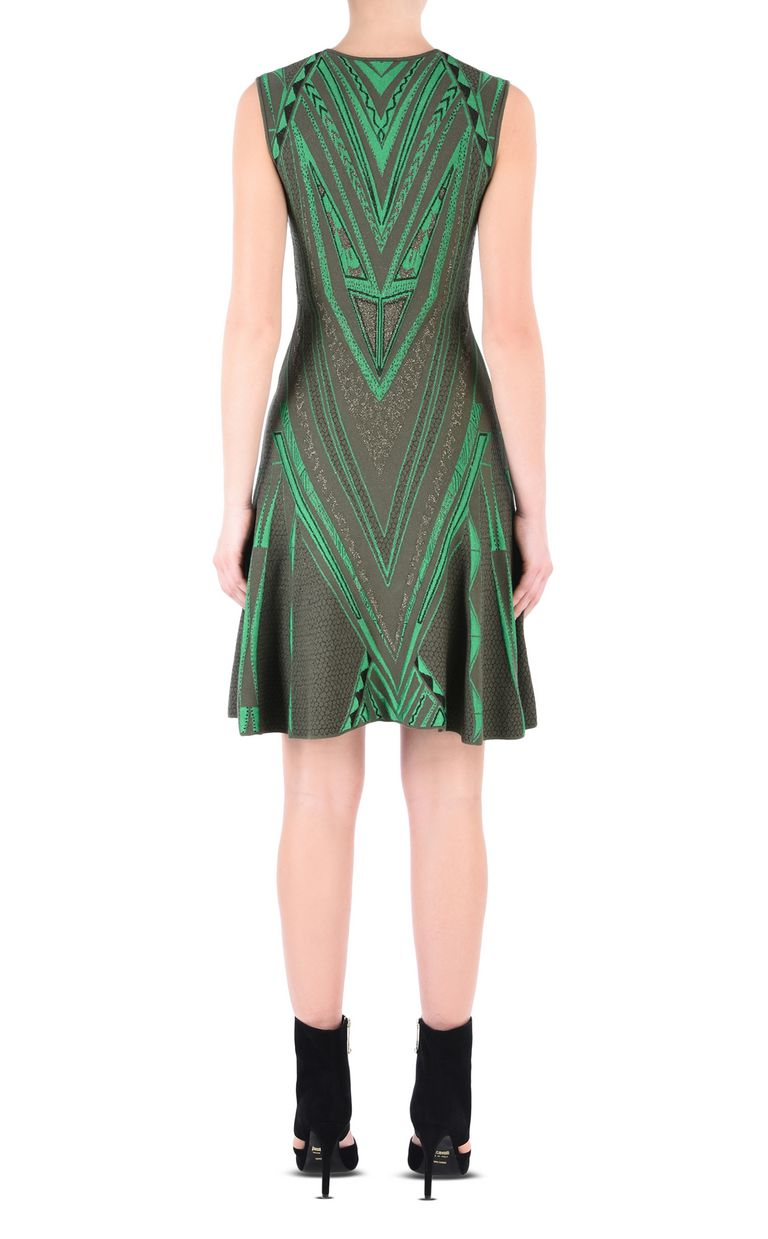 JUST CAVALLI Olive-green flared dress Short dress Woman d