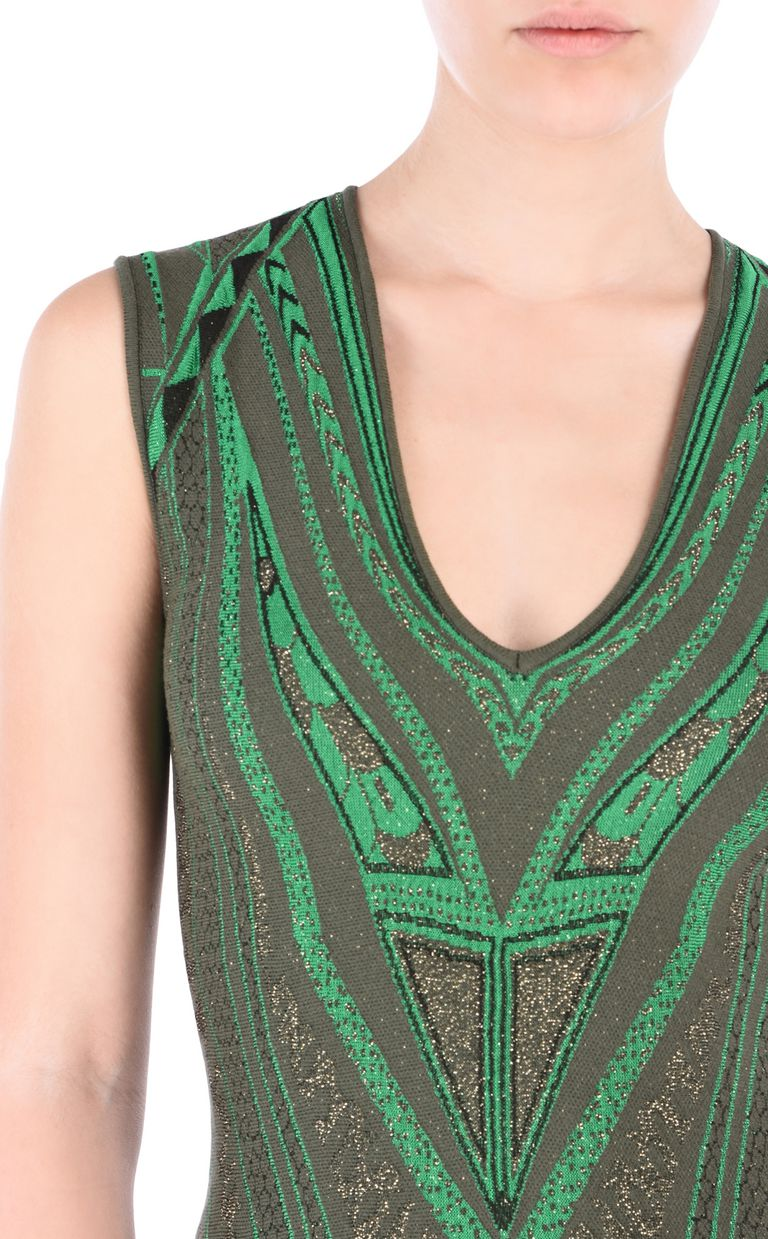 JUST CAVALLI Olive-green flared dress Short dress [*** pickupInStoreShipping_info ***] e
