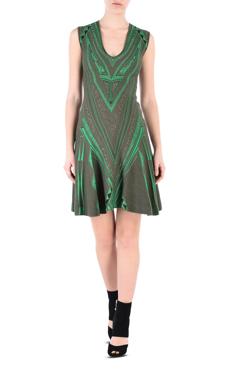JUST CAVALLI Olive-green flared dress Short dress [*** pickupInStoreShipping_info ***] f