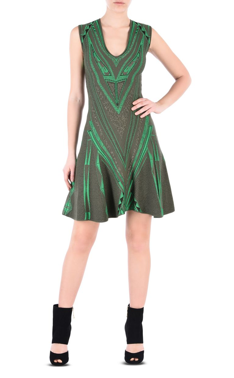 JUST CAVALLI Olive-green flared dress Short dress [*** pickupInStoreShipping_info ***] r