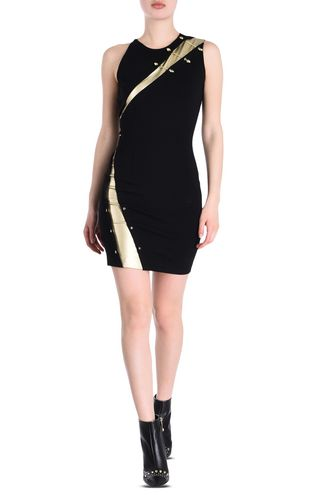 Sheath dress with snake piercings
