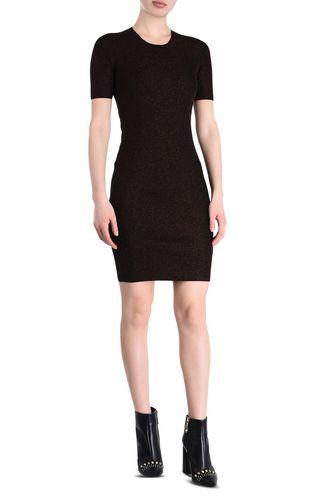 Short-sleeve lurex sheath dress