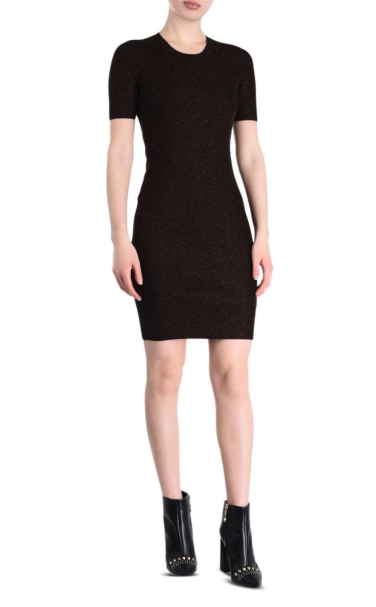 JUST CAVALLI Short-sleeve lurex sheath dress Short dress Woman f