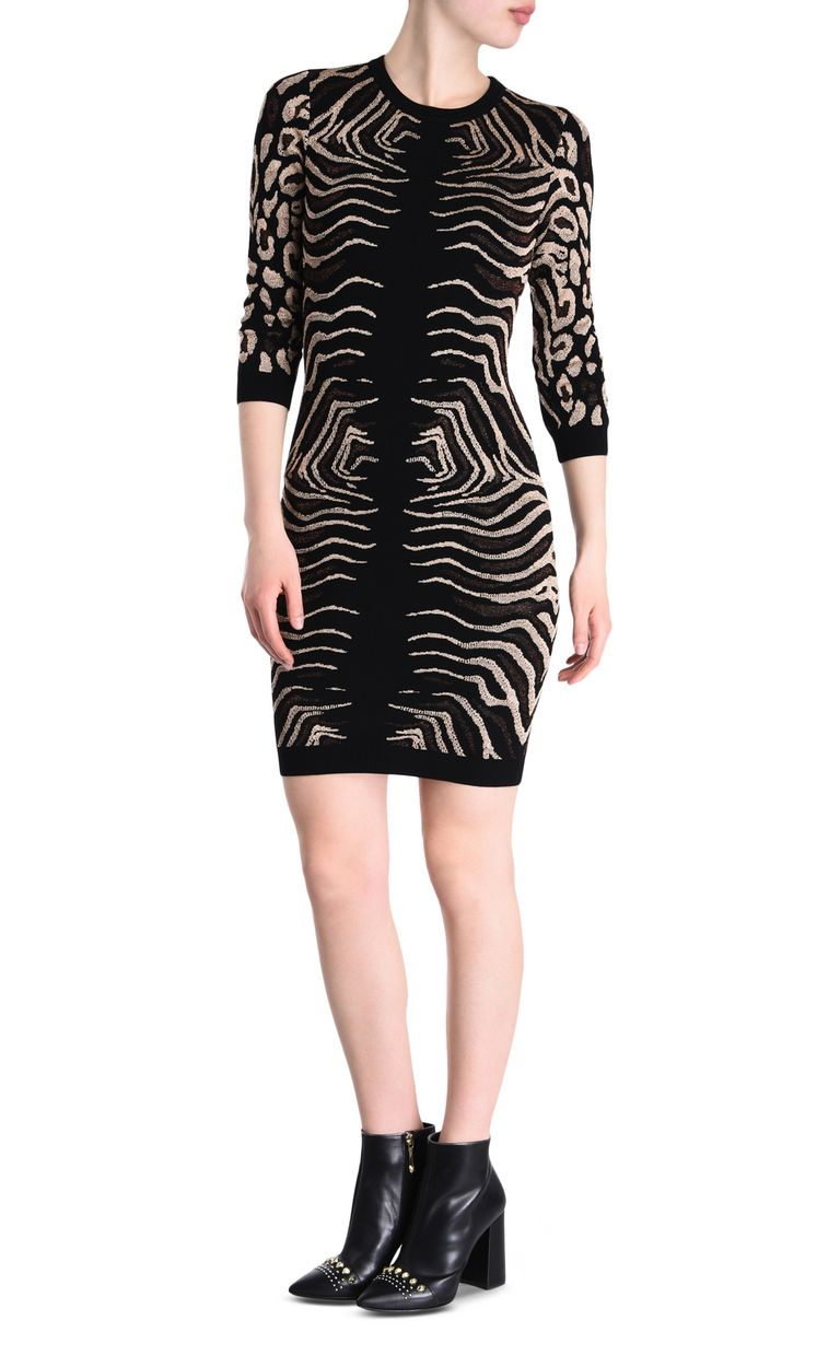 JUST CAVALLI Black and gold sheath dress 3/4 length dress Woman f