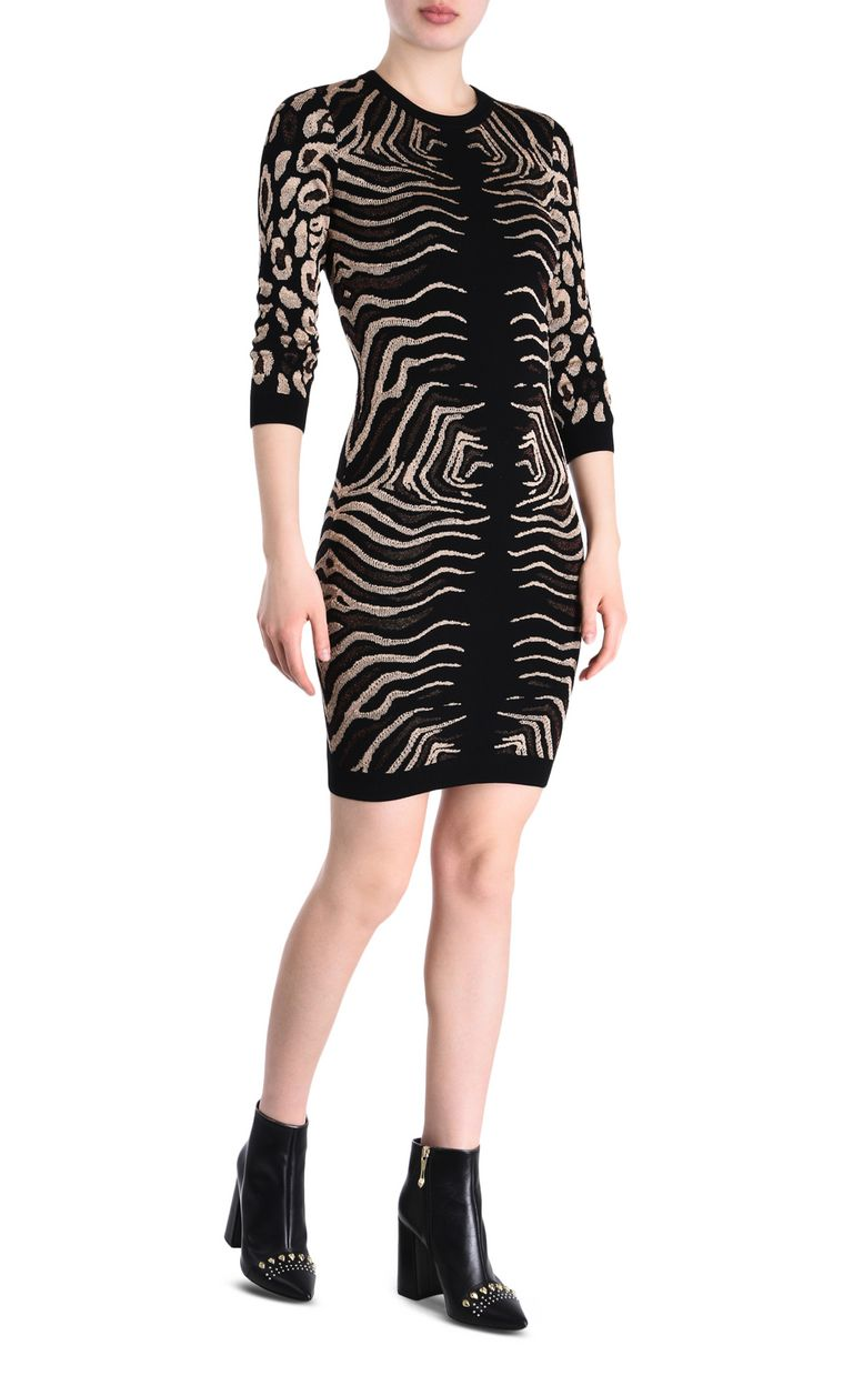 JUST CAVALLI Black and gold sheath dress 3/4 length dress Woman r