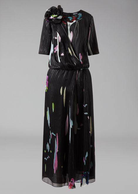 Screen-printed silk maxi dress