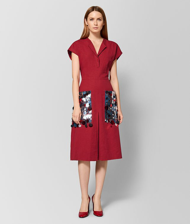 BOTTEGA VENETA ROBE EN LIN CHINA RED Robe Femme fp