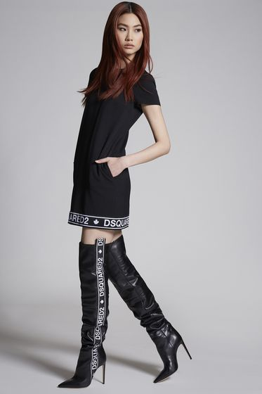 DSQUARED2 Wool Cady Tape Band Shift Dress 连衣裙 女士