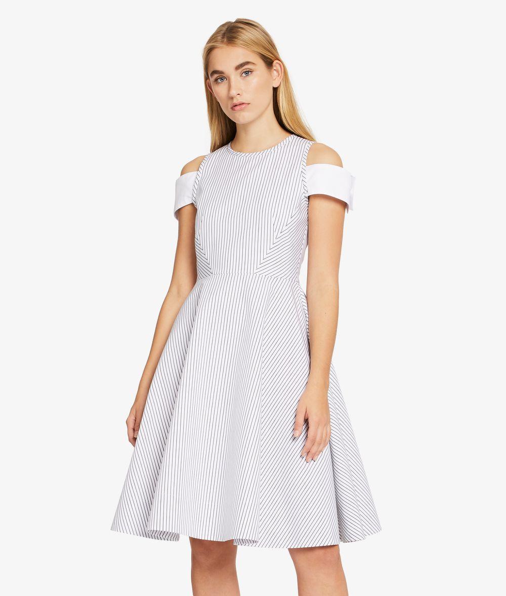 KARL LAGERFELD Streifen-Kleid mit Manschette an der Schulter Kleid Damen d