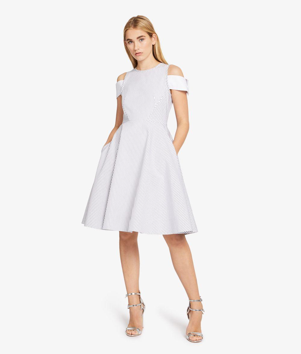 KARL LAGERFELD Streifen-Kleid mit Manschette an der Schulter Kleid Damen f