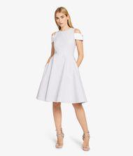 KARL LAGERFELD Streifen-Kleid mit Manschette an der Schulter 9_f