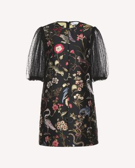 REDValentino  Flora and Fauna brocade dress with Tulle sleeves