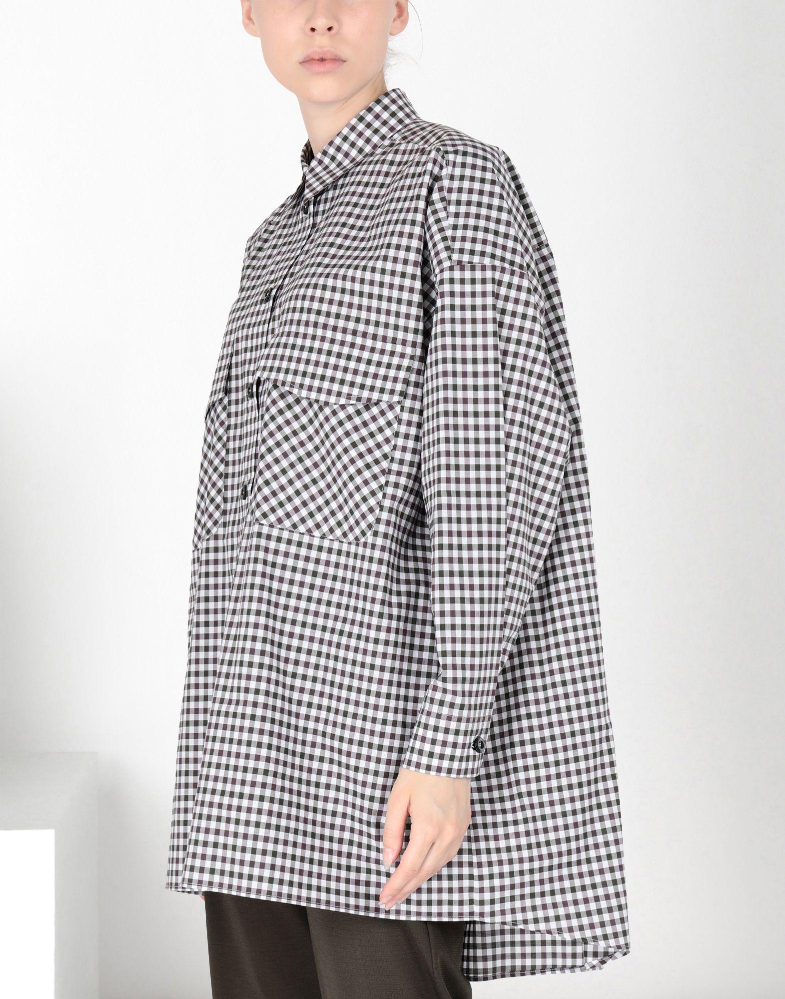 MM6 MAISON MARGIELA Oversized checked shirt 3/4 length dress Woman f