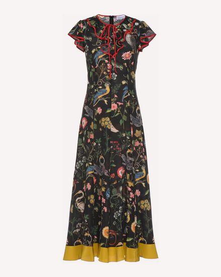 Flora-and-fauna print silk dress