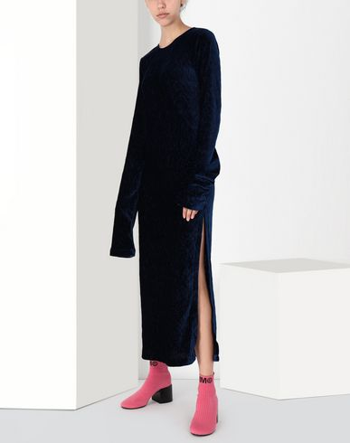 MM6 MAISON MARGIELA Long dress Woman Extra long smocking velvet dress f