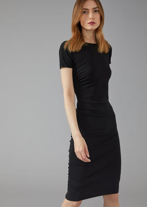 Pleated sheath dress in stretch viscose