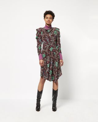 CARLEY printed silk dress