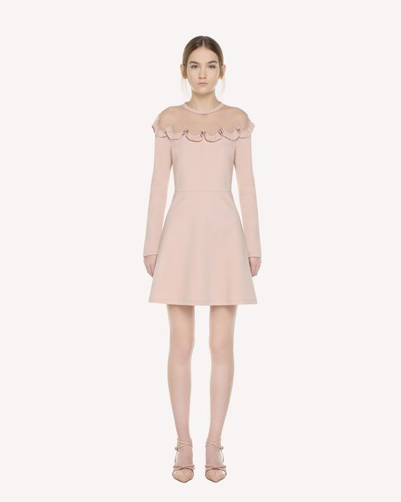 REDValentino Point d'esprit tulle detailed jersey dress