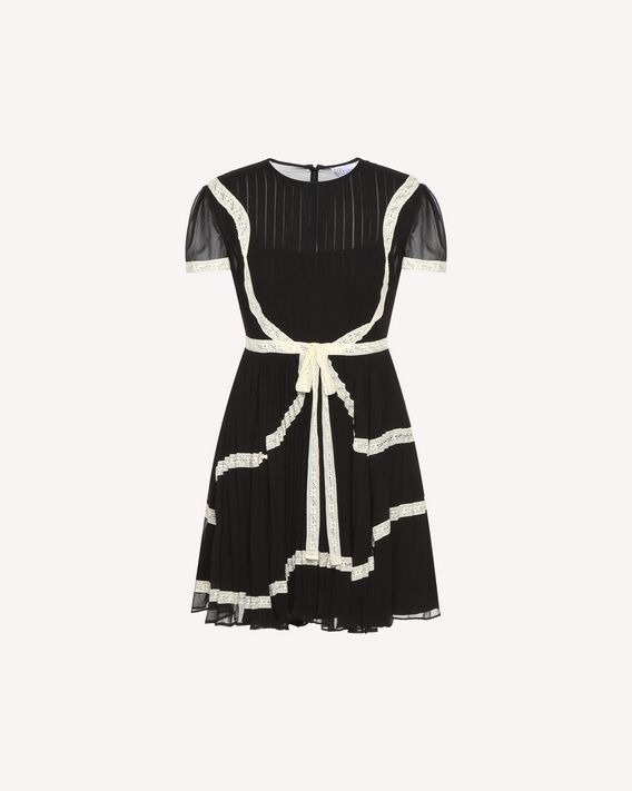 Redvalentino Lace Ribbons Embroidered Georgette Dress