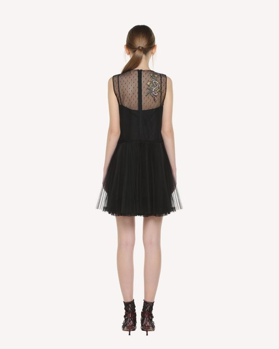 REDValentino Tulle dress with Enchanted Reptiles and Bird patches