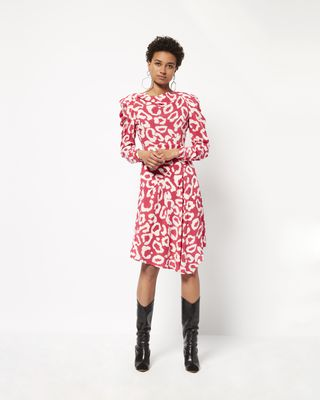 Robe imprimée en soie CARLEY